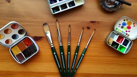 DOODLEWASH REVIEW: Cheap Joe's Travel Brush Set, Da Vinci Cosmotop Spin, Travel Carry Set-up