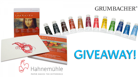 GIVEAWAY: Win Hahnemühle Paper and 12 Tubes of Grumbacher Watercolors!