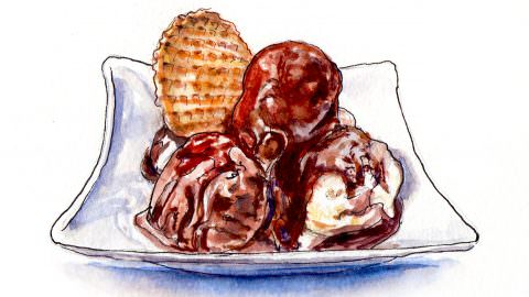 World Watercolor Month – Day 13 – Ice Cream Treat