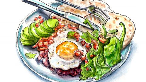 World Watercolor Month – Day 15 – Last Night's Dinner