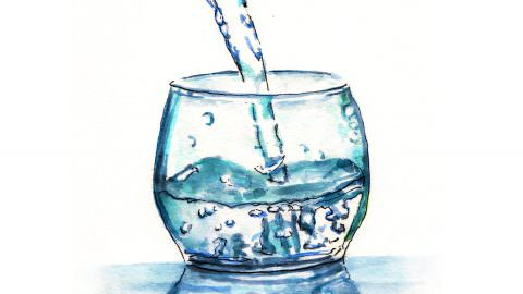 World Watercolor Month – Day 5 – A Cold Glass Of Water