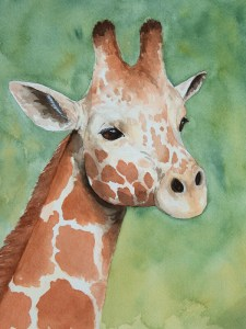 Giraffe Portrait – Watercolor Print [8×10]