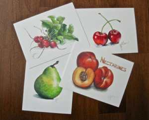 Set of 4 Limited Edition Print Fruit & Veg Postcards