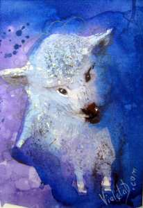 A Little Lamb in Ultra Violet – Original Watercolor