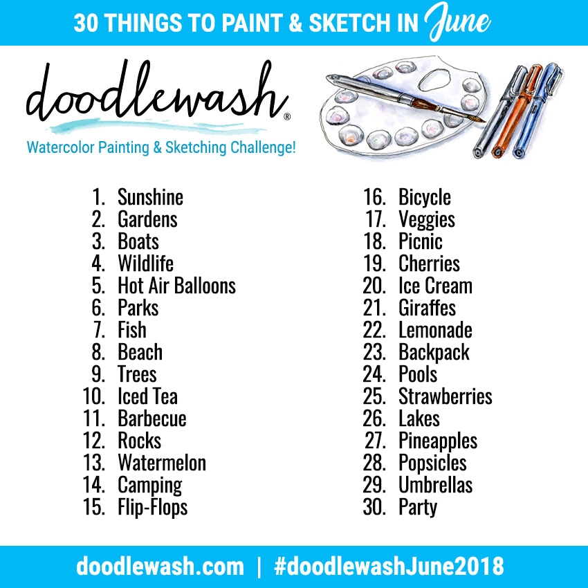 Doodlewash Monthly Watercolor Sketching Art Challenges