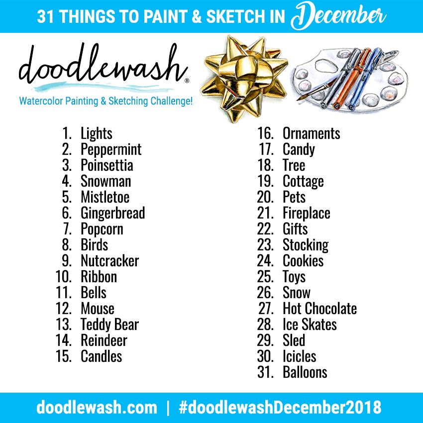 Art Challenges Monthly Watercolor Drawing Challenge Doodlewash